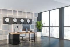 Esquina de despacho de direcci?n gris con los relojes stock de ilustración