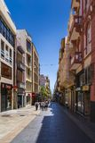Esquina de la calle de Robayna de la calle de Castillio en Santa Cruz de Tenerife imágenes de archivo libres de regalías