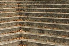 Esquina de la escalera con las hojas de la caída fotografía de archivo