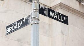 Esquina de la muestra de camino de Wall Street de la bolsa de NY Fotos de archivo libres de regalías