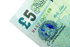 Esquina de la nota de cinco libras Imagen de archivo