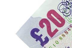 Esquina de la nota de veinte libras Foto de archivo libre de regalías