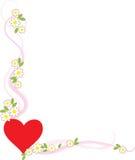 Esquina de la tarjeta del día de San Valentín Imagenes de archivo