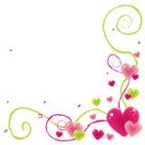 Esquina de la tarjeta del día de San Valentín Fotos de archivo libres de regalías