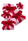 Esquina de regalos rojos Imagen de archivo libre de regalías