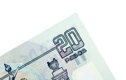 Esquina de veinte Pesos mexicanos Foto de archivo libre de regalías