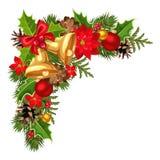 Esquina decorativa de la Navidad con las ramas, las bolas, las campanas, el acebo, la poinsetia y los conos del abeto Ilustración Fotos de archivo