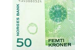 Esquina del billete de banco de cincuenta coronas noruegas Fotografía de archivo libre de regalías
