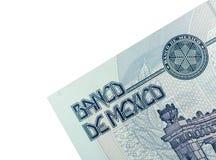 Esquina del billete de banco mexicano Foto de archivo