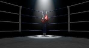 Esquina del boxeo y guantes de boxeo Fotografía de archivo libre de regalías