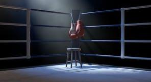Esquina del boxeo y guantes de boxeo ilustración del vector