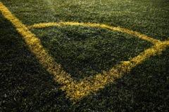 Esquina del campo de fútbol Fotografía de archivo libre de regalías