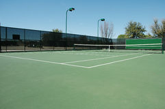 Esquina del campo de tenis Fotos de archivo