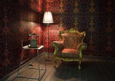 Esquina del cuarto con el papel pintado rojo Foto de archivo libre de regalías