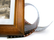 Esquina del marco de la foto y cinta de la foto Fotos de archivo