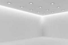 Esquina del sitio blanco mpty con las pequeñas lámparas redondas del techo ilustración del vector