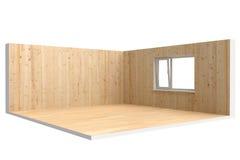 Esquina del sitio vacío con el piso, la pared y la ventana Imagenes de archivo