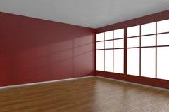 Esquina del sitio vacío rojo con las ventanas grandes ilustración del vector