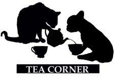 Esquina del té con el gato y el perro stock de ilustración