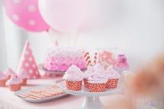 Esquina dulce de una fiesta de cumpleaños Fotos de archivo