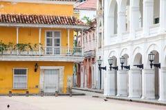 Esquina en Cartagena de Indias Foto de archivo libre de regalías