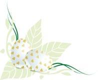 Esquina floral de los huevos de Pascua Imagenes de archivo