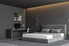 Esquina gris del dormitorio con el escritorio del ordenador ilustración del vector
