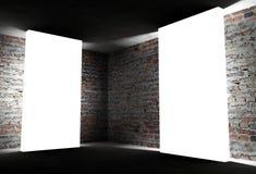 esquina interior 3d con los marcos vacíos blancos Foto de archivo