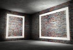 esquina interior 3d con los marcos vacíos blancos Fotos de archivo