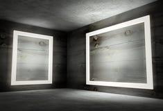 esquina interior 3d con los marcos vacíos blancos Imagen de archivo libre de regalías