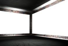 esquina interior 3d con los marcos vacíos blancos Foto de archivo libre de regalías
