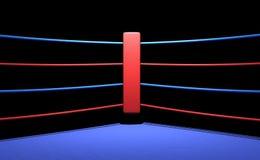 Esquina roja del ring de boxeo en fondo oscuro Imágenes de archivo libres de regalías