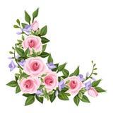 Esquina rosada de las rosas. stock de ilustración