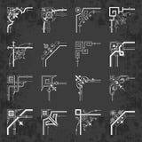 Esquinas decorativas caligráficas para el diseño en un fondo de la pizarra - sistema del vector Fotos de archivo libres de regalías