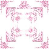 Esquinas decorativas con los corazones Foto de archivo libre de regalías