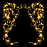 Esquinas ornamentales rizadas barrocas del vector rico del oro para el diseño y decoración en fondo negro Imagen de archivo libre de regalías