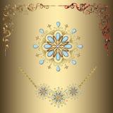 Esquinas y collares del oro del vector Imagen de archivo libre de regalías