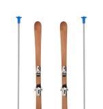 Esquis alpinos de madeira isolados Imagens de Stock