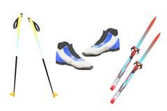 Esquis do turista, pólos de esqui e barcos Foto de Stock