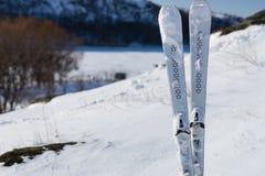 Esquis em declive que estão eretos na montanha nevado Imagens de Stock Royalty Free