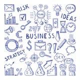 Esquisse des illustrations au thème d'affaires Ensemble créatif d'icône de vecteur de griffonnage illustration stock