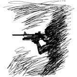 Esquissez l'illustration la silhouette d'un soldat dans le profil avec une arme à feu Photos stock