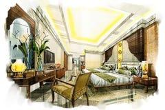 Esquissez la chambre à coucher twing intérieure dans une aquarelle Photo stock
