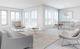 Esquissez la conception de l'intérieur de vue de mer dans la maison de plage moderne illustration de vecteur