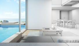 Esquissez la conception de l'intérieur de vue de mer dans la maison moderne de piscine Images stock