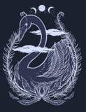 Esquissez le beau caractère de conte de fées du soleil de cygne d'illustration graphique avec des symboles tirés par la main myst illustration stock