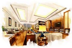 Esquissez le bureau vivant intérieur de perspective dans une aquarelle Photos stock