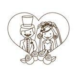 esquissez le coeur de silhouette avec les roses par bande dessinée de ménages mariés et de couronne Photographie stock