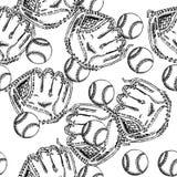 Esquissez le gant d'ANG de BAL de base-ball, modèle sans couture Photos stock