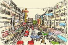 Esquissez le marché local thaïlandais de scape de ville dans Chiangmai, gratuit Photos stock